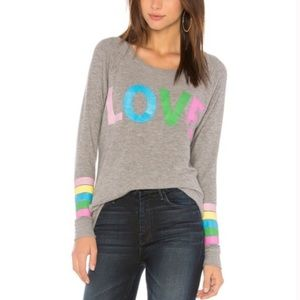 New Chaser Rainbow Stripe Love Knit Pullover